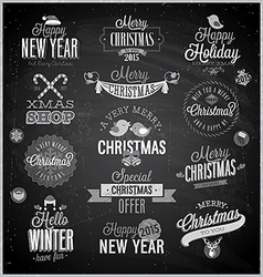 xmas emblems chalk vector image