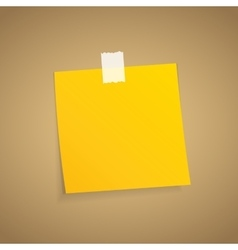 Yellow sticky note on an adhesive tape vector image