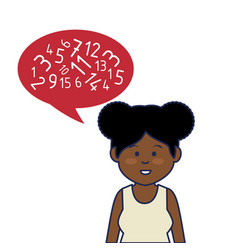 Young african woman avatar character with speech vector