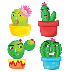 four cactus plants in the pots vector image vector image