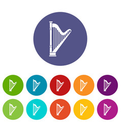 harp set icons vector image