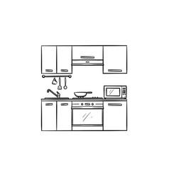 kitchen interior hand drawn sketch icon vector image