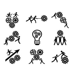 men teamwork gears pictogram icons set vector image vector image
