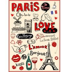 Paris love doodles vector image vector image