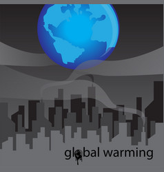 refinery with smoke and global warming concept vector image vector image