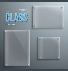 Set of Realistic Glass Plate Template Icons vector image vector image