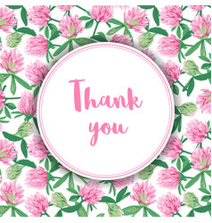 thank you card with clovers vector image