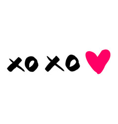 xoxo with pink heart isolated on white background vector image