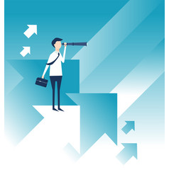 a business man looks for vision in the future vector image