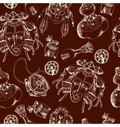 Africa sketch dark seamless pattern vector image