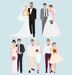 Beautiful elegant Wedding couples man and women vector image vector image