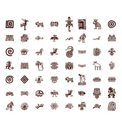 Brown tribal symbols set vector