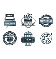 Cinema label set vector