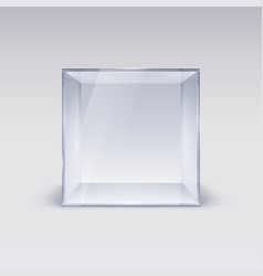 empty glass showcase in cube form on white vector image vector image