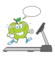 healthy green apple cartoon character running vector image vector image