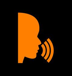 people speaking or singing sign orange icon on vector image