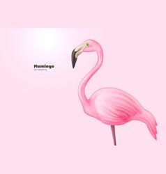 realistic 3d pink flamingo vector image vector image