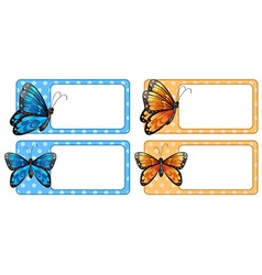 Square label with colorful butterflies vector image vector image