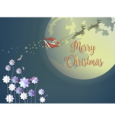 Butterfly and purple flower with flying santa and vector image vector image