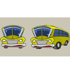 Cartoon character yellow bus in different angles vector