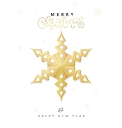 christmas poster with gold hand lettering vector image vector image