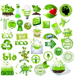eco and bio icons vector image vector image