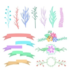 graphic arrows hearts ribbons vector image