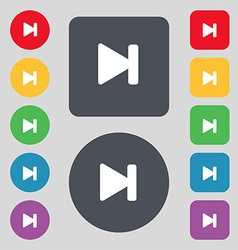 Next track icon sign a set of 12 colored buttons vector