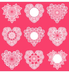 Set of Lace Hearts vector image vector image