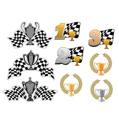 Set of motor sport and racing icons vector image vector image