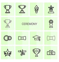 14 ceremony icons vector