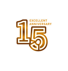 15 years excellent anniversary template design vector