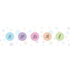 5 runner icons vector