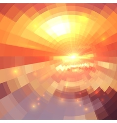 Abstract orange technology concentric mosaic vector image
