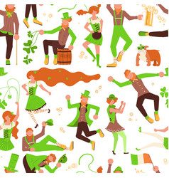abstract seamless pattern with cute leprechauns vector image
