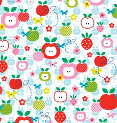apple strawberry pattern vector image