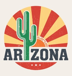 Arizona t shirt with styled saguaro cactus and sun vector