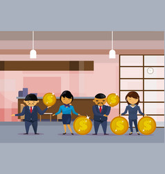 asian business people group holding golden coins vector image