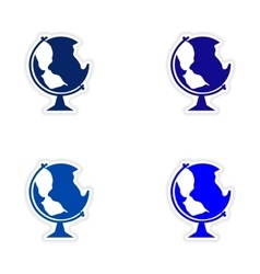 Assembly realistic sticker design on paper globe vector