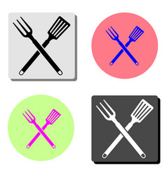 bbq or grill tools crossed barbecue fork with vector image