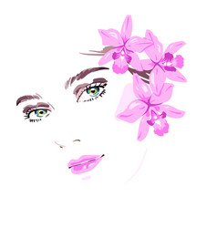Beautiful woman with flowers in her hair vector