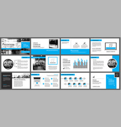 Blue and white element for slide infographic on vector
