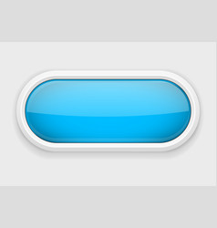 Blue shiny oval button on white matted background vector