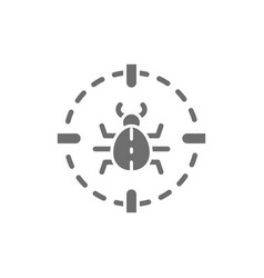 bug in target sight virus grey icon vector image