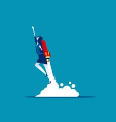 businesswoman flying up rocket concept vector image