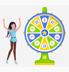 casino fortune wheel woman player lottery vector image