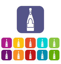 Champagne bottle icons set flat vector