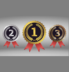 champion gold silver and bronze award vector image