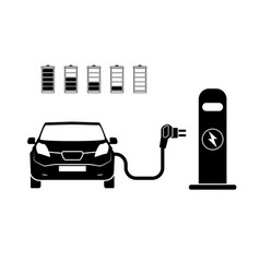 charging station electric car black icons set vector image