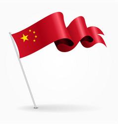 Chinese pin wavy flag vector